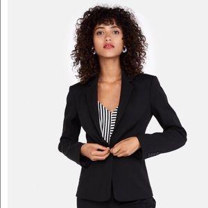 Express Notch Collar one Button Blazer in Black